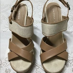 Chinese Laundry tan wedges size 7